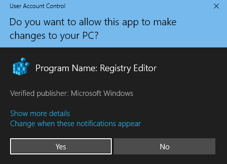 windows 10 UAC dialog box