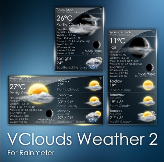 vclouds weather 2 skin for rainmeter