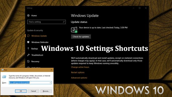 Windows 10 Settings Shortcuts