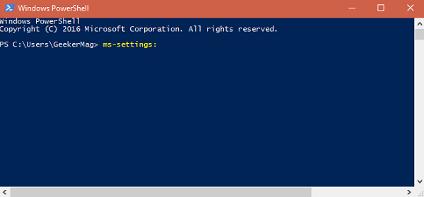 Open Settings apps in Windows 10 from Windows Powershell