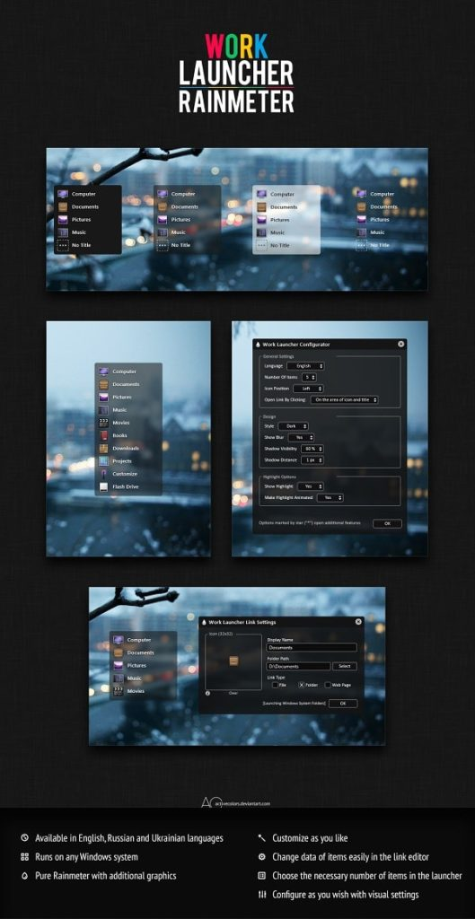 work launcher skin for rainmeter