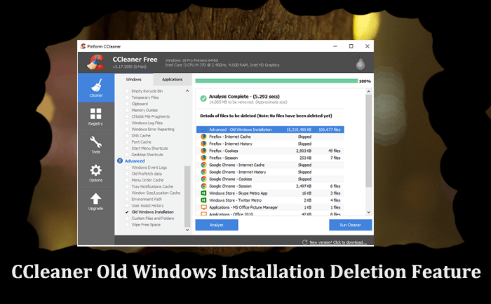 CCleaner Old Windows Installation Deletion Feature-min