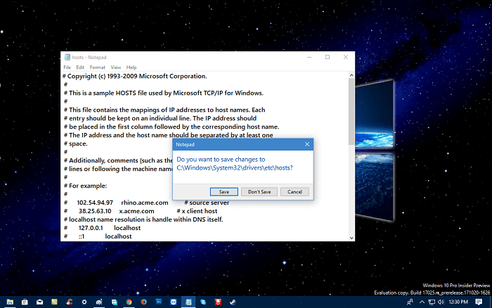 Can't Save Hosts File in Windows 10
