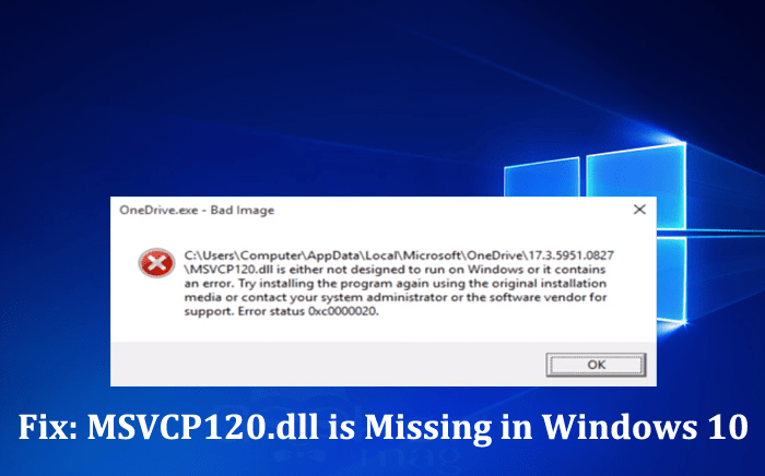 Fix MSVCP120.dll is Missing in Windows 10