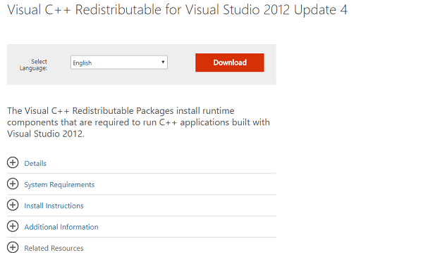 Download Visual C++ Redistributable for Visual Studio 2012 Update 4
