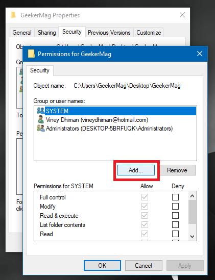 add user to folder properties