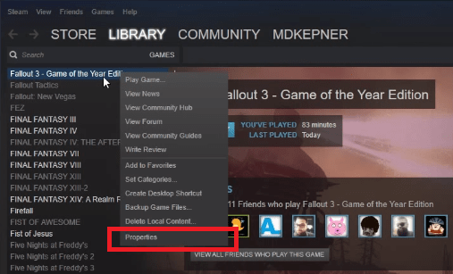 fallout 3 properties in steam