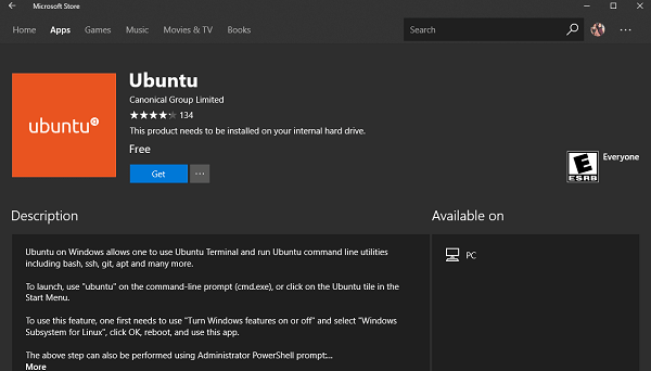 download ubuntu on windows 10 from microsoft store