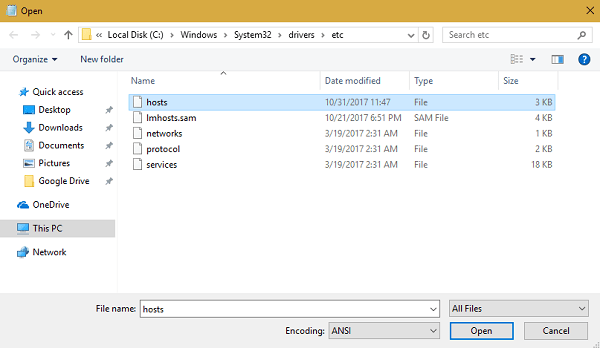 open host file in notepad file