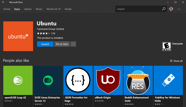launch ubuntu in windows 10