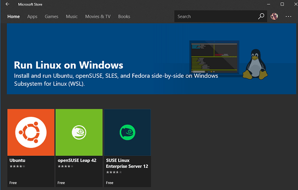 linux distros available on Windows store