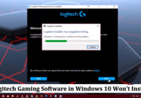 logitech gaming software in windows 10 won't install