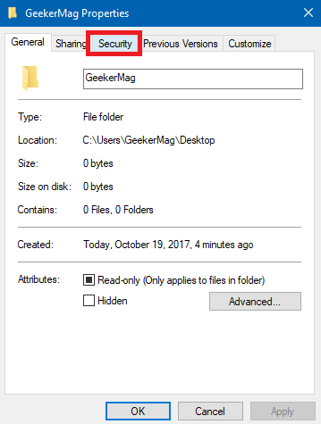 folder properties - Security tab