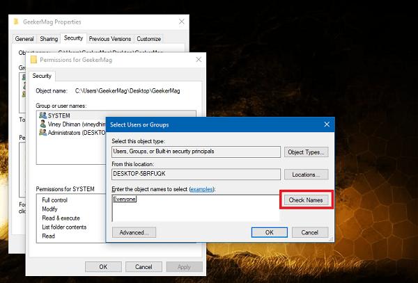 select user or group for folder properties