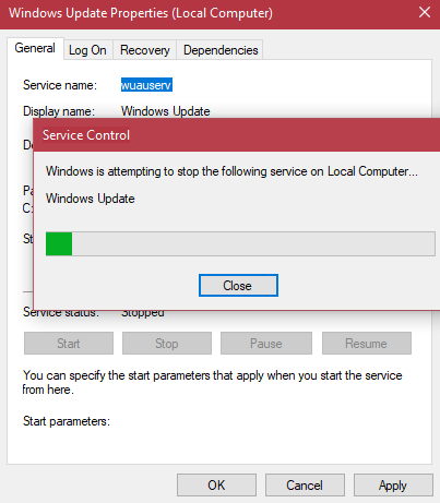 stop windows update service in windows 10