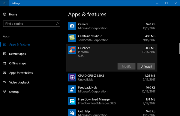 uninstall ccleaner from windows 10
