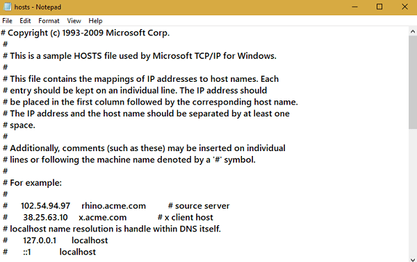windows 10 hosts file