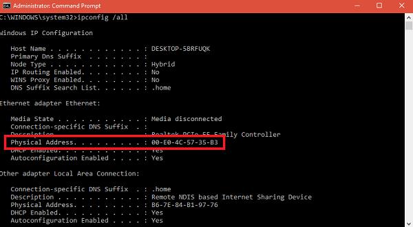 find mac address command prompt