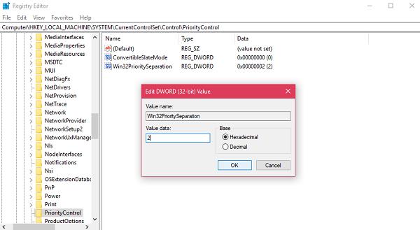 Win32PrioritySeparation value data in windows 10