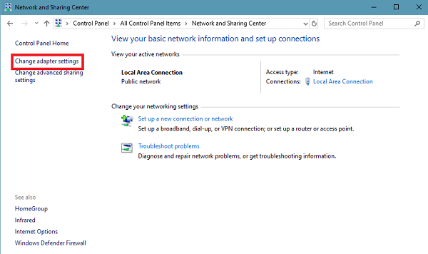 change adapter settings in control of windows 10