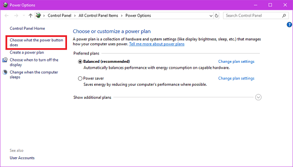 choose what power button does option in windows 10