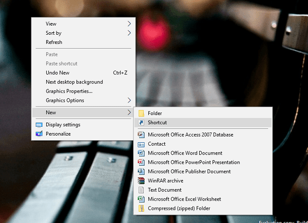 create new shortcut in windows 10