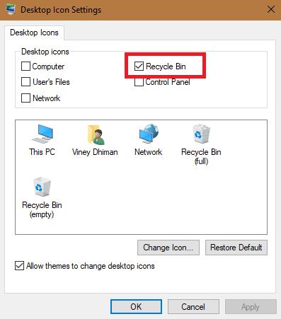 desktop icon settings in windows 10