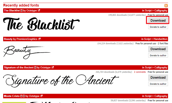how to get blacklisted font