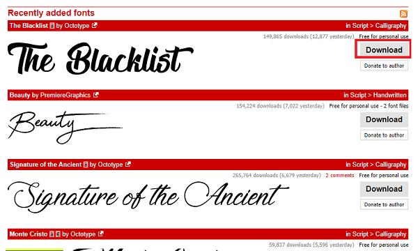 download font - The Blacklist
