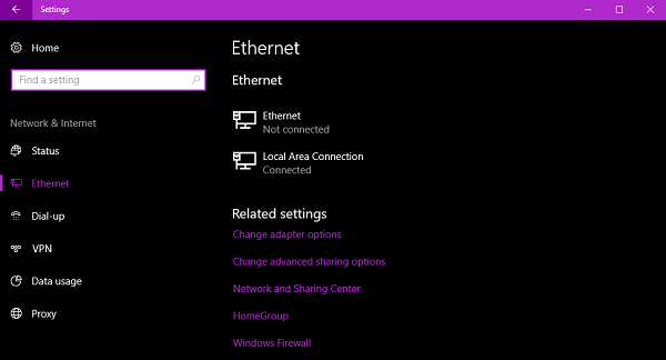 ethernet windows 10