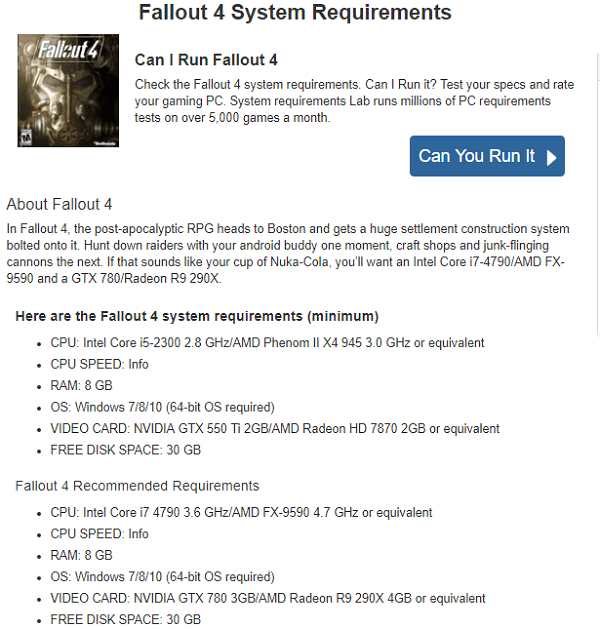 fallout 4 system requirements