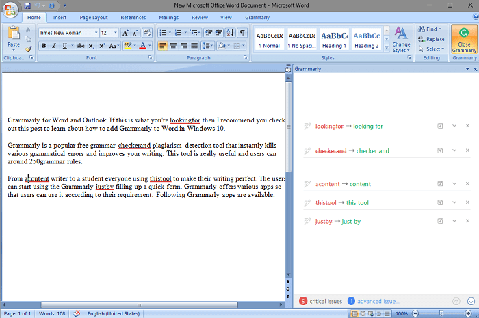 grammarly editor in word