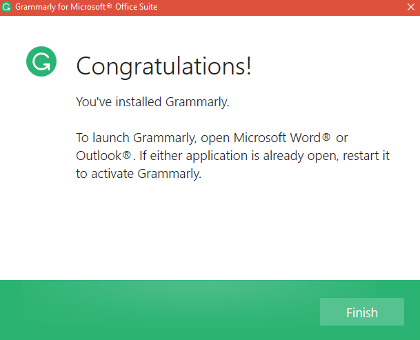 grammarly installation complete