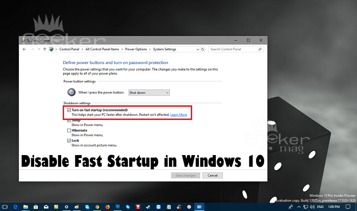 how to disable fast startup in windows 10