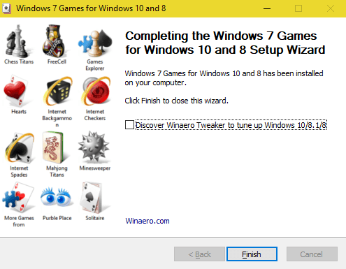 windows 7 games for windows 10 installation completed