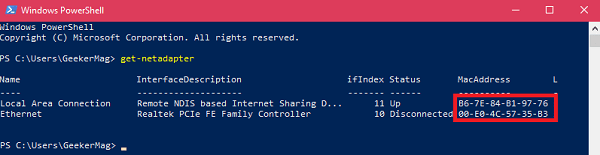 find mac address in windows 10 using windows powershell