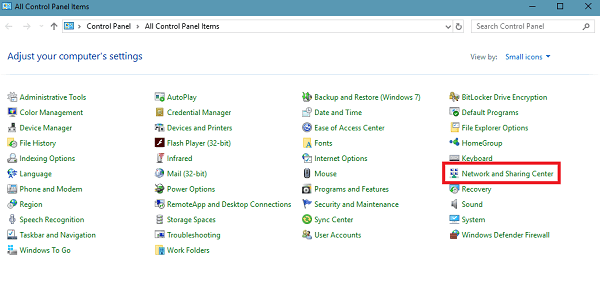 network and sharing center in control panel in windows 10