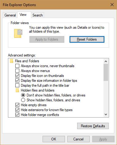reset folder option folder options in windows 10