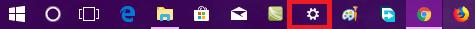 settings icon on windows 10 taskbar