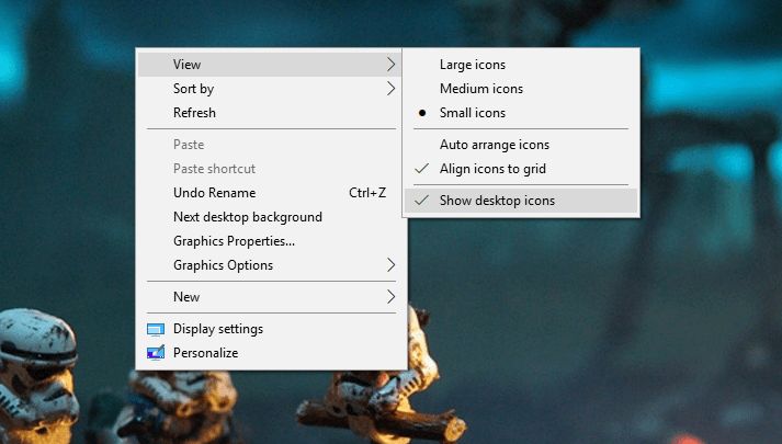 hide desktop icons in windows 10