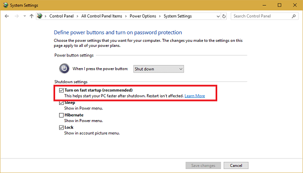 turn off fast startup option in windows 10