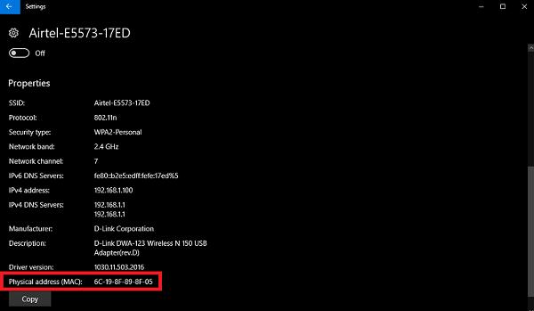 wifi mac address windows 10