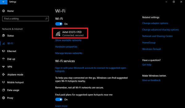 wifi network windows 10