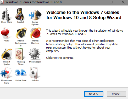 windows 7 games for windows 10 installer