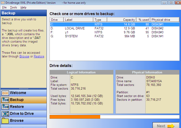 DriveImage XML for windows 10