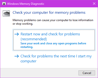 Windows Memory Diagnostics test in windows 10