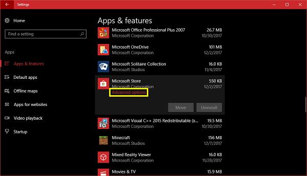 windows store advanced options