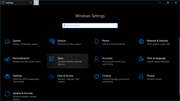 apps settings in windows 10