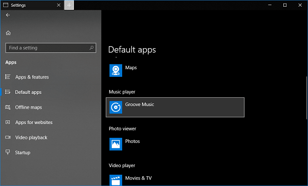 groove music default apps in settings app