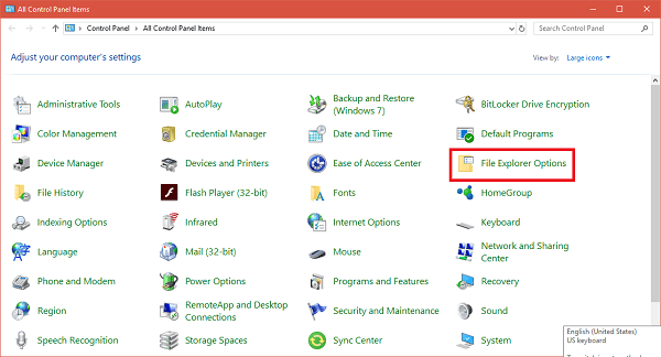 file explorer options folder in control panel in windows 10